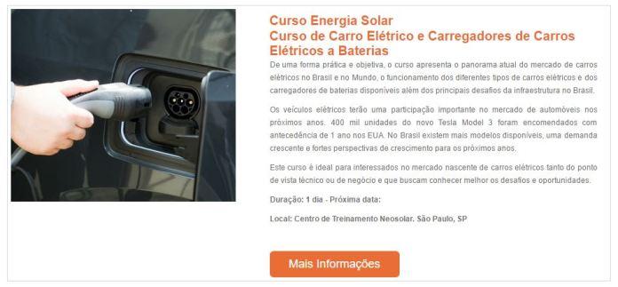 Curso de carro elétrico e carregadores
